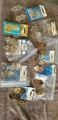 HUGE Vintage lot of  10 pairs of butterfly cabinet hinges, nickel New Old Stock!