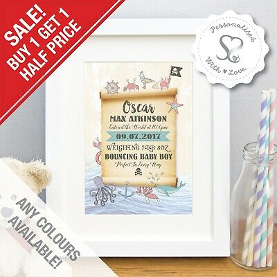 Personalised Birth Details Baby Print Nautical Pirate Nursery Art Picture Gift