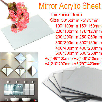 A6 A5 A4 A3 3mm Clear Mirror Acrylic Sheet 500mm Plastic Safety Glass Panel
