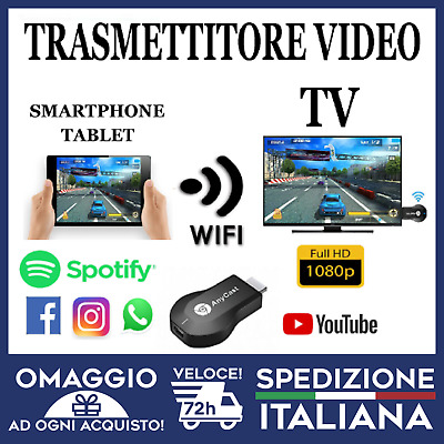 Cromecast Anycast Tv Miracast Hdmi Dongle Media Video Streamer Airplay 🇮🇹