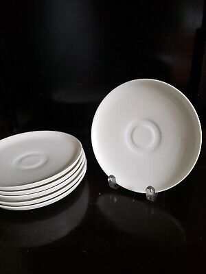 """6 Villeroy & Boch Group Vivo White Saucer For Milk Coffee Cup 7"""" Round"""