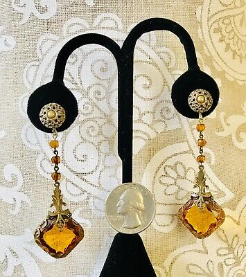 ⭐️Vintage Amber Czech Glass Art Deco Brass Chandelier Pendant Pierced Earrings