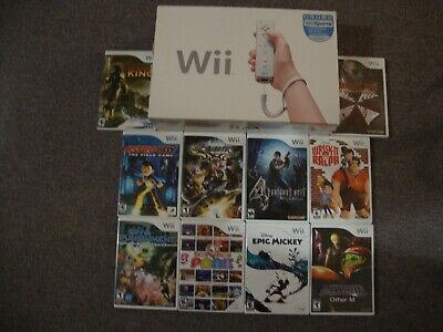 Nintendo Wii Lot In Box + 10 Complete Games + 52 Official Downloads + Extras