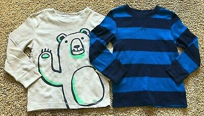NWT Boys Blue Stripe Gray Long Sleeve Cat & Jack Thermal Set of 2 Tops 4T