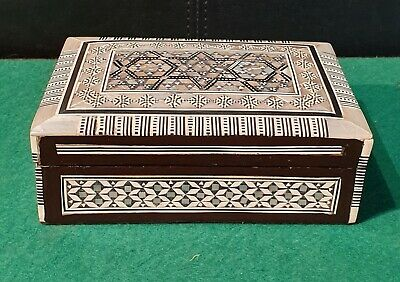 Antique 19th Cent Rosewood Jewellery box decorated with Mother of Pearl inlay