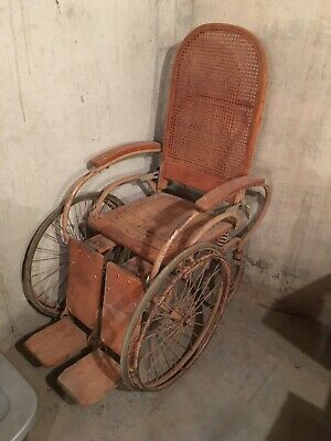 Antique Wooden Wheelchair Wicker Collectible Oak Cane Back 1900s Erie Penn Ser.#