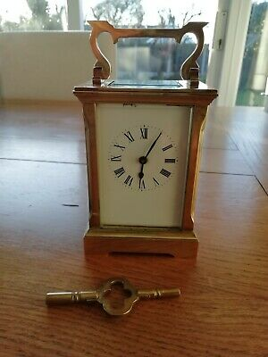Brass Carriage Clock with Key stamped WJH