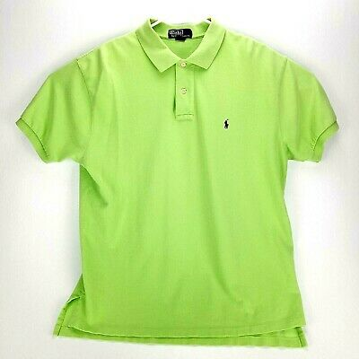 Polo by Ralph Lauren Mens XL Lime Polo Shirt Navy Embroidered Polo Shirt Green