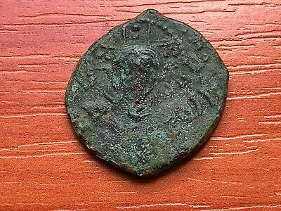Ancient Medieval Byzantine AE Follis Unknown ERROR FELLING.
