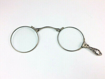 Antique Edwardian Art Deco Sterling Silver Chatelaine Lorgnette Eye Glasses