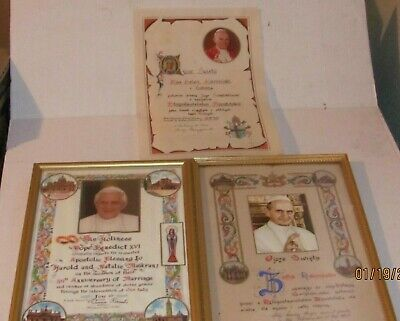 3 Saint Pope (S) signed benedictionS - personally papal blessing - vatican relic
