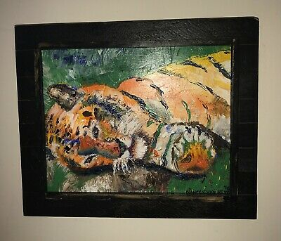 "Tiger 11""x14"" Original Oil Painting Wood Frame Signed Art by Artist Big Cat"