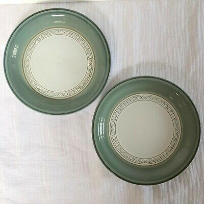 "Denby Langley Venice Green Lot of 2 Bread & Butter Plates 7"" Stoneware England"