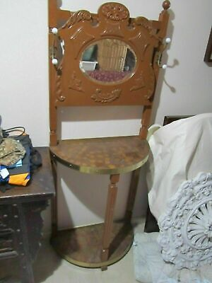 Beautiful Vintage Hall Stand Bevelled Mirror, bronze edge, 64 w, 34 d 172 h