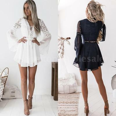 Women's Hollow Out Lace Sexy V-Neck Long Sleeve Ruffle Bandage Party Dress
