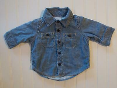 Baby Gap Boys 0-3 Months Chambray Denim Jersey Lined Button Up Shirt Top Reborn