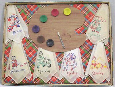 Vtg Childrens Hankie Box Set 6 Days a Week with Watercolor Palette 1950s NICE!