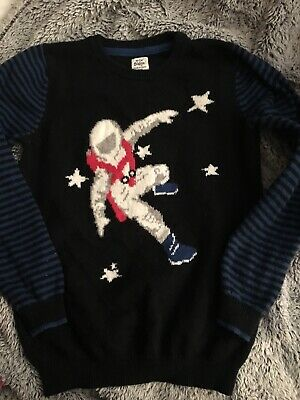 Vguc!!! Mini Boden Boys Space Sweater Top Size 9 10!!!!!