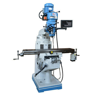 "Multiple Speed Vertical Turret 9"" x 49"" Drill Milling Machine with DRO"
