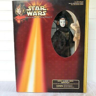 Star Wars Episode 1 Queen Amidala Portrait Edition Doll Black Travel Gown New