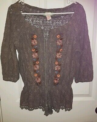 Anthropologie Flying Tomato Lace Embroidered Peasant Top Floral Blouse Womens L