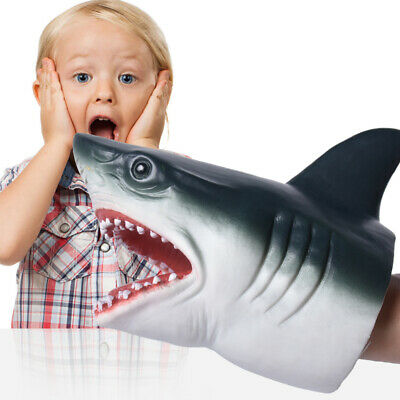 SHARK HAND PUPPET Soft Stretchy Rubber Jaws Baby Shark Stretchy Great Grey b6W