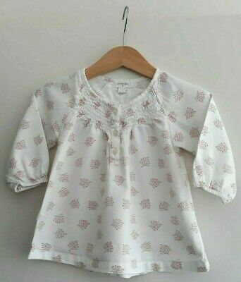 Purebaby Girl's EUC Long Sleeved Creme and Pink Blouse in size 0 or 6-12 months