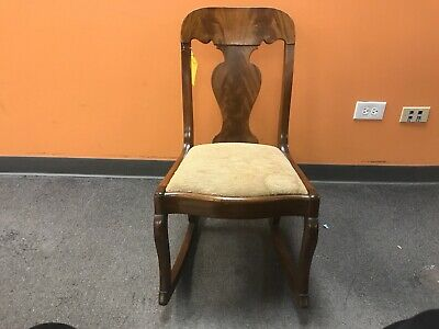 Vintage Small VICTORIAN Wood ROCKING CHAIR with Beige Taupe Padding CHILDREN'S