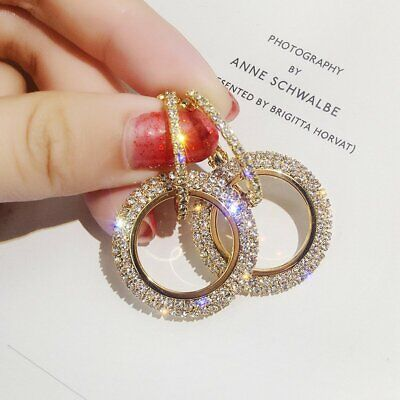 Fashion Gold Full Crystal Round Hoop Earrings Women Party Wedding Jewelry Gift