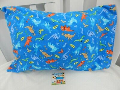Pillowcase Flannelette Cot Toddler Size Dinosaurs Blue 100% Cotton Snug & Warm