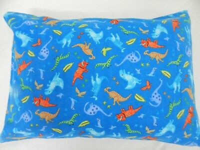 Pillowcase Flannelette FULL SIZE Dinosaurs Blue 100% Cotton Snug & Warm