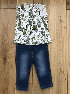 * Next Baby Girls Cactus Top & Blue Skinny Jeans Outfit Set 6-9 Months *
