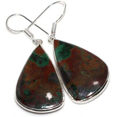 """E8790 Azurite 925 Sterling Silver Plated Earrings 2"""""""