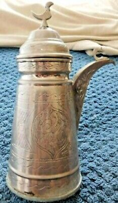 1 Only Syrian Arabic Hand Made Engraved Silver Plated Copper Dallah Coffee Pot
