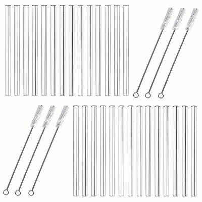 24x Reusable Glass Drinking Straws 20cm Straws Incl. Cleaning Brush