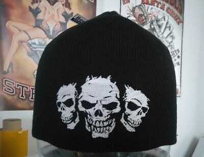 Mütze Beanie Strickmütze Biker Harley DAVIDSON Chopper Intruder 3Skulls Customs
