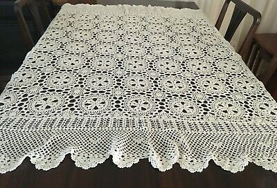 CROCHET SQUARE BEIGE TABLECLOTH 160x150cm  - Beautiful!