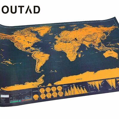 OUTAD Portable Travel Scratch off Maps Poster Traveler Vacation Log Gift
