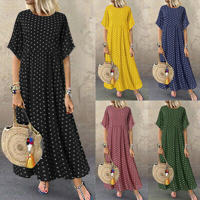 ZANZEA Women Short Sleeve Vintage Retro Plus Size Maxi Sundress Polka Dot Dress