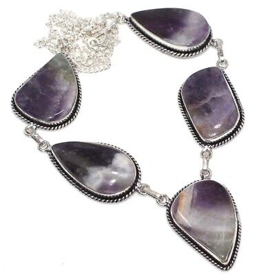 """E4139 Amethyst Lace 925 Sterling Silver Plated Necklace 20"""""""