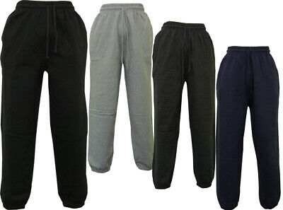 Mens Elasticated Fleece Cuffed Tracksuit Trouser Work Joggers Track Bottoms