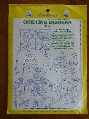 Aunt Martha's Quilting Designs - 4 Pattern Sheets - #3367 - Various Designs
