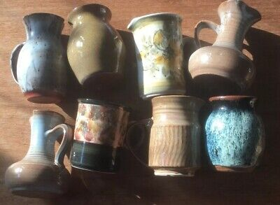 Bulk Buy Country Style Small Pottery Glazed Vases & Milk Cream Jugs Some Signed