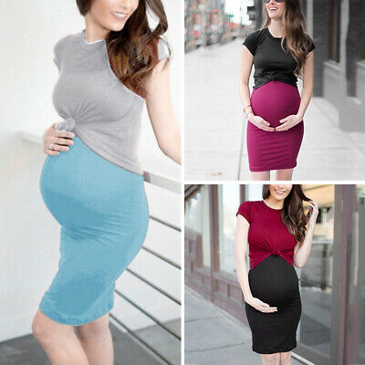 Stylish Pregnant Ladies Dress Set Tops Shirt Sexy Slim Bodycon Casual Stretch