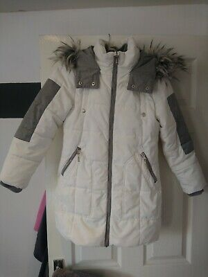 Girls Winter Jacket, White And Grey, From Next, Age 9