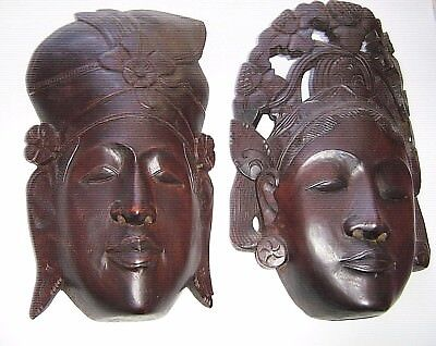 REDUCED, large pair antique 1950 hand carved wood  TRADITIONAL Indonesian  heads
