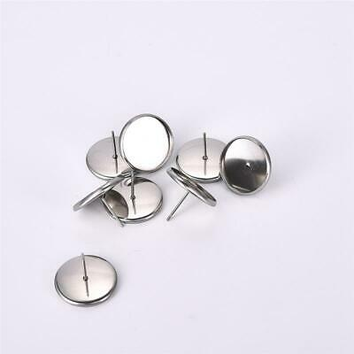 20x Earring Stud Base Setting Cabochon Cameo Blank Tray for DIY Making Findings