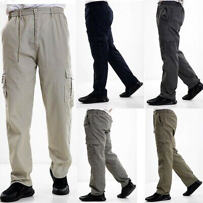 Mens Elasticated Cargo Combat Work lightweight Cotton Trousers Bottoms Pants