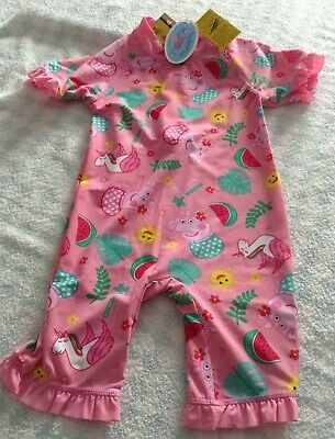 baby girl peppa pig uv upf 40+ swimming surfsuit sunsuit pink 12-18 months NEW