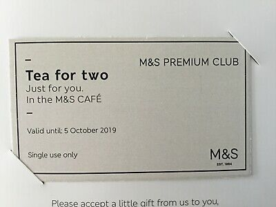 M&S voucher birthday tea for two, valid until October 5th 2019